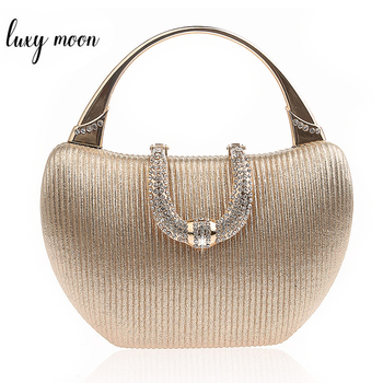 Wedding Clutch Bag Luxury Handbags for Women Champagne Elegant Shoulder Bag Diamond U Shape Clasp Clutch Bag Purse ZD1346 dj bag palmin u 15