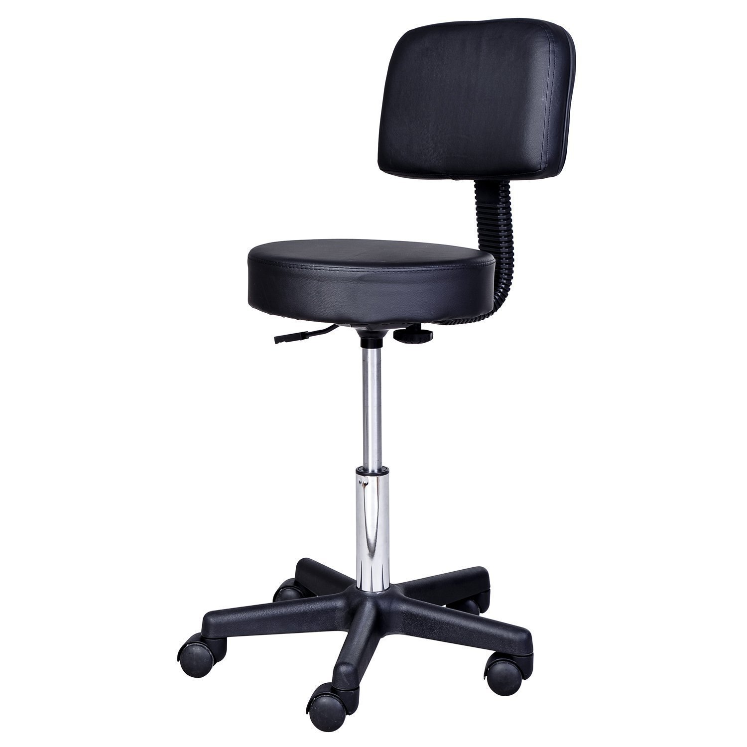HOMCOM Stool Swivel Chair With Backrest Height Adjustable Lounge Faux Leather 77-89 Cm Black