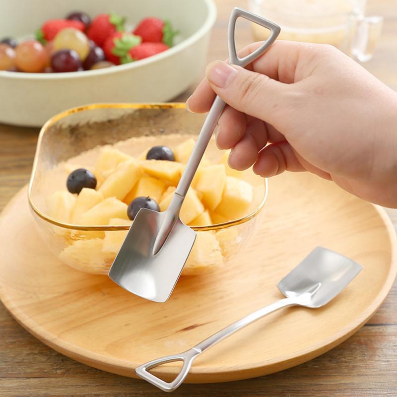 Stainless Steel Shovel Shape Tea Coffee Sugar Spoon Ice Cream Dessert Spoon Teaspoon Kids Interesting Toys Bar Home Dinnerware