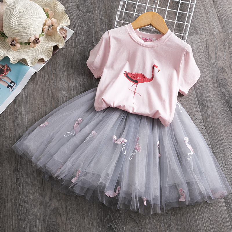 2020 Toddler Girl Kids Set 2 Piece Girl Set Dresses Party Little Girl Clothes For Flamingo Girls Dress Summer Clothing 7 Years