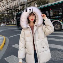 FENGGUILAI Winter Jacket Women Long Down Cotton Jacket Women Parka Big Fur Collar Hooded Cotton Coat Womens Jackets Coats стоимость