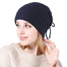 Knit Beanie Hat Plus Velvet Thicken Winter Hats Woman Warm Cap  Knitted Elegant Women Skullies Beanies