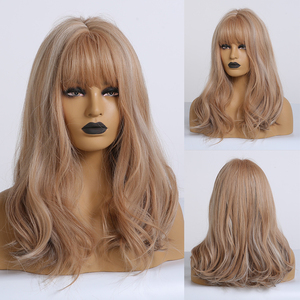 Image 4 - EASIHAIR Brown Medium Length Wave Wigs with Bangs Synthetic Wigs for Black Women High Density Cosplay Wigs Heat Resistant