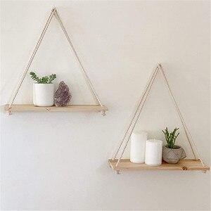 Premium Wood Swing Hanging Rope Wall Mounted Shelves Plant Flower Pot Rack indoor outdoor decoration simple design Shelves #Y20