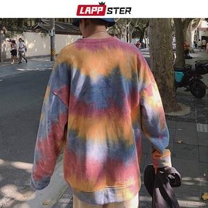 Image 5 - LAPPSTER גברים Harajuku עניבה לצבוע גדול נים 2020 סתיו Mens יפני Streetwear חולצות זכר כותנה היפ הופ הסווטשרט