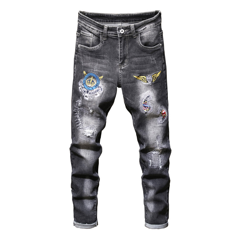 Sokotoo Men's Badge Patch Design Gray Black Jeans Patchwork Embroidered Ripped Stretch Denim Pants
