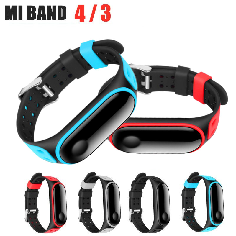 Sport Mi Band 4 3 Strap Double-breasted Strap For Xiaomi Mi Band3 4 Sport Silicone Bracelet For Xiaomi Mi Band4 3 Smart Bracelet
