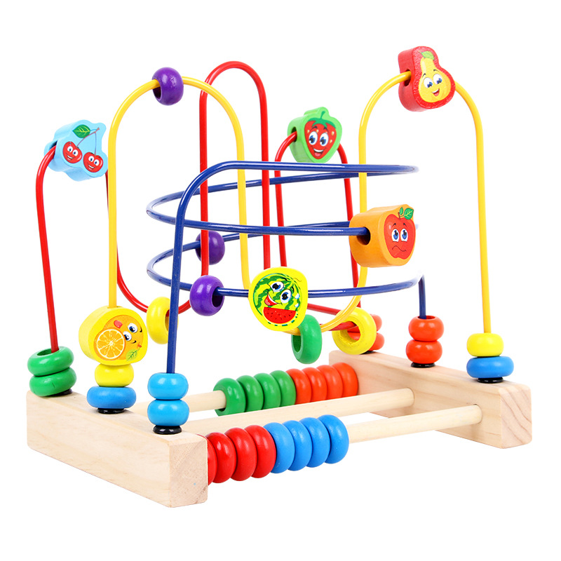 Educational Bead-stringing Toy Beaded Bracelet Wood & Vegetable Fruit Bead-stringing Toy Early Education Center Wooden Toy Custo
