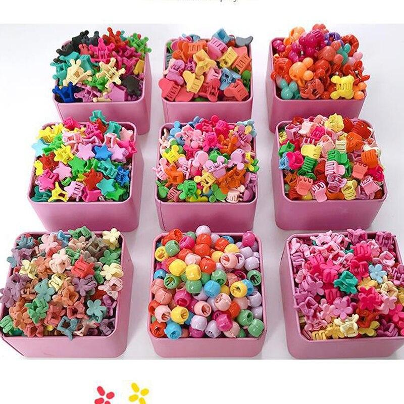 10-100 Pcs/Box Children Cartoon Hair Accessories Colorful Flower Hair Claw Mini Hairpins Girls Rabbit Crown Hair Clips Headdress