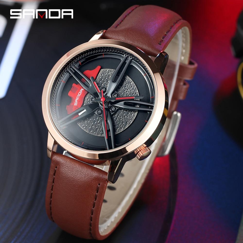 Image 3 - SANDA Top Brand Fashion Men Watch Premium Quartz Movement Wheel Wristwatch Leather Strap Life Waterproof Gifts Montre Homme 1040Quartz Watches   -