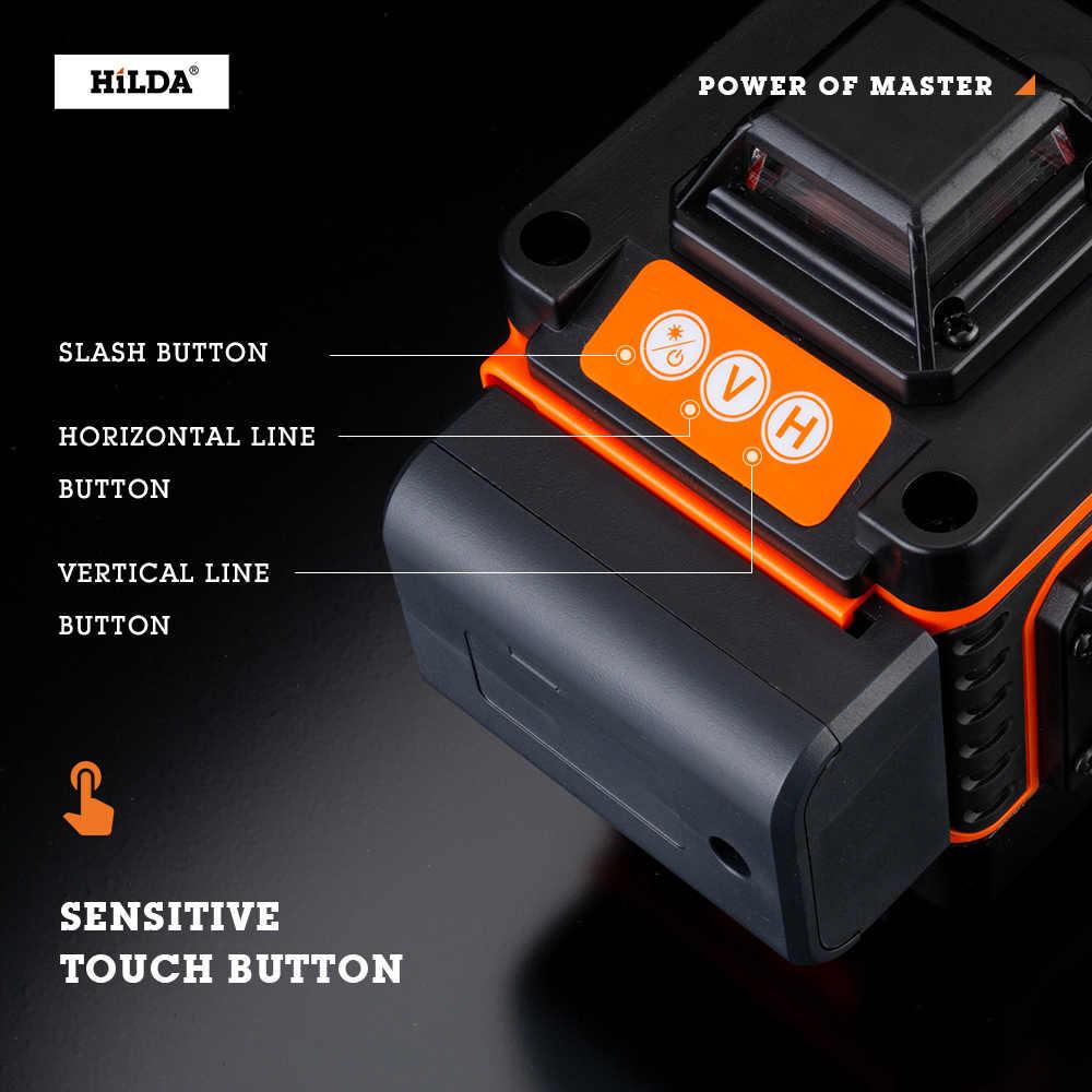 HILDA 16 satır 4D lazer seviyesi seviyesi kendini tesviye 360 yatay ve dikey çapraz süper güçlü yeşil lazer seviyesi
