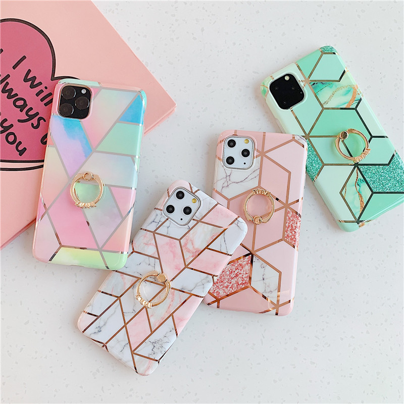 Electroplated flow gold green, pink grid, color splicing ring for appe 6s78plus case, suitable for iPhone xr xxs 11pro Max case image
