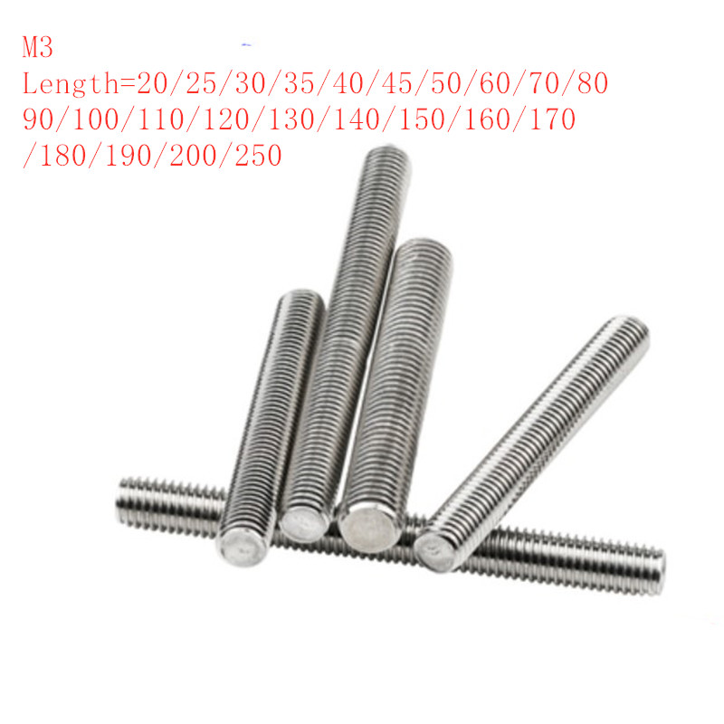 10pcs/lot M3 Stainless steel full thread rod threaded bar rod stud length 20mm to 250mm