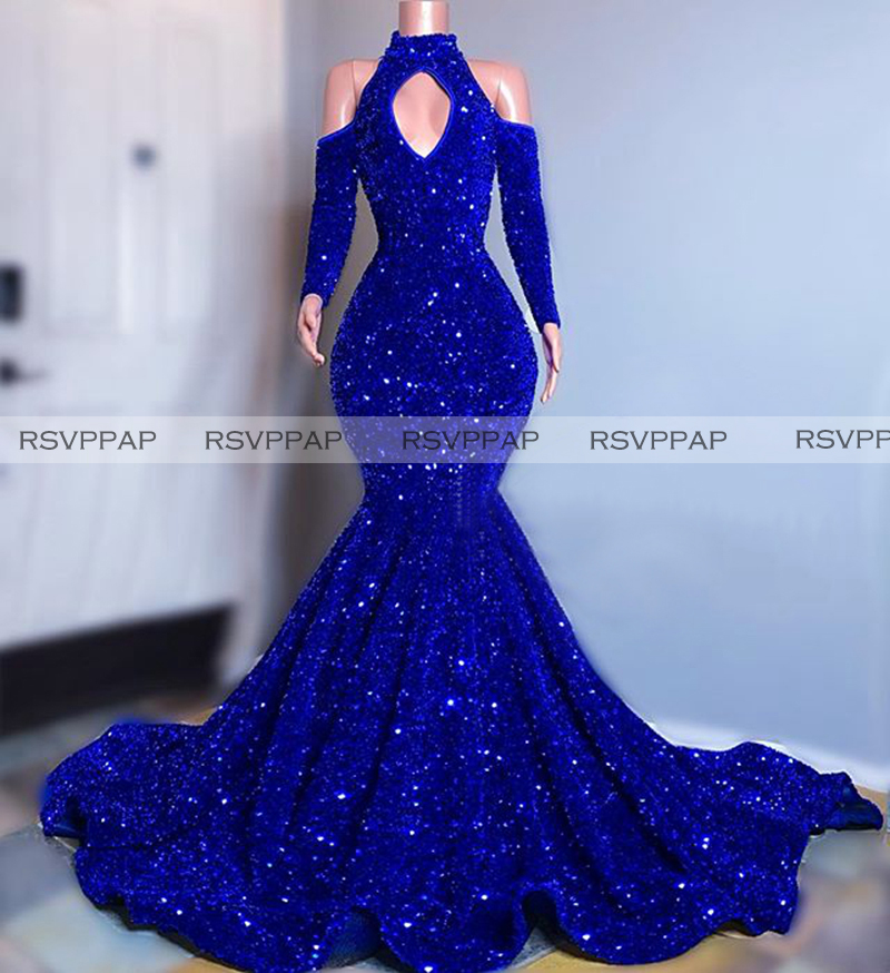 Long Sparkly Prom Dresses 2020 High Neck Mermaid Long Sleeve Sequined Sexy Royal Bllue African Black Girls Prom Gala Prom Gowns