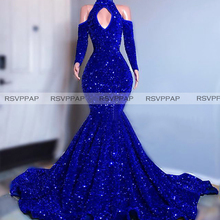 Long Sparkly Prom Dresses 2020 High Neck Mermaid Long Sleeve Sequined Sexy Royal