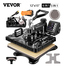 VEVOR 12 x15 Inch 360° Heat Press Machine Double-Tube Heating with LED 5/6 In 1 for Caps T-shirts Cups Plates Pattern Printing