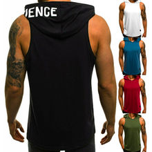 Sleeveless Hoodie Vest Jackets Muscle-Fitness-Shirts Workout Bodybuilding Men's Tank-Tops