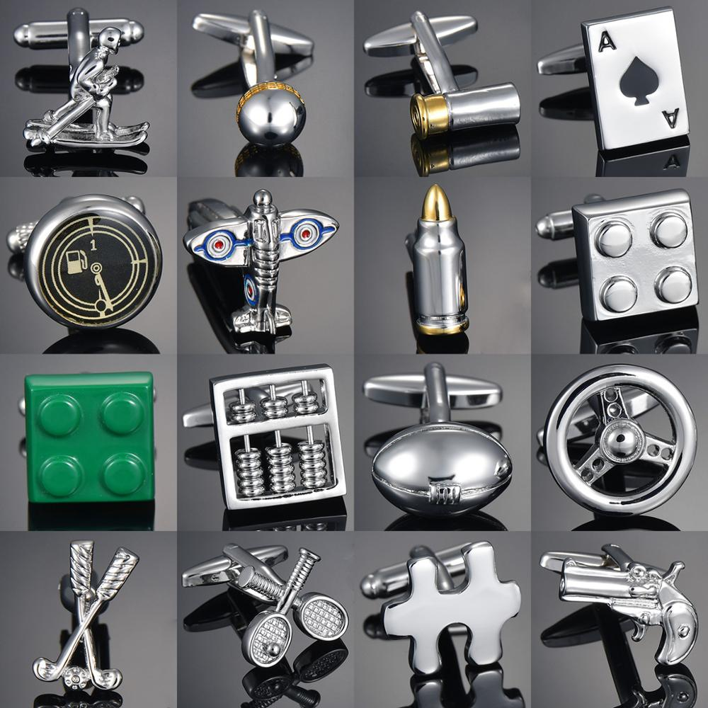 Direct Wholesale Copper Men's French Shirt Cufflinks Button Gadget/Abacus/Small Tool Hammer Knife Golf Rocket Cufflinks Gemelos