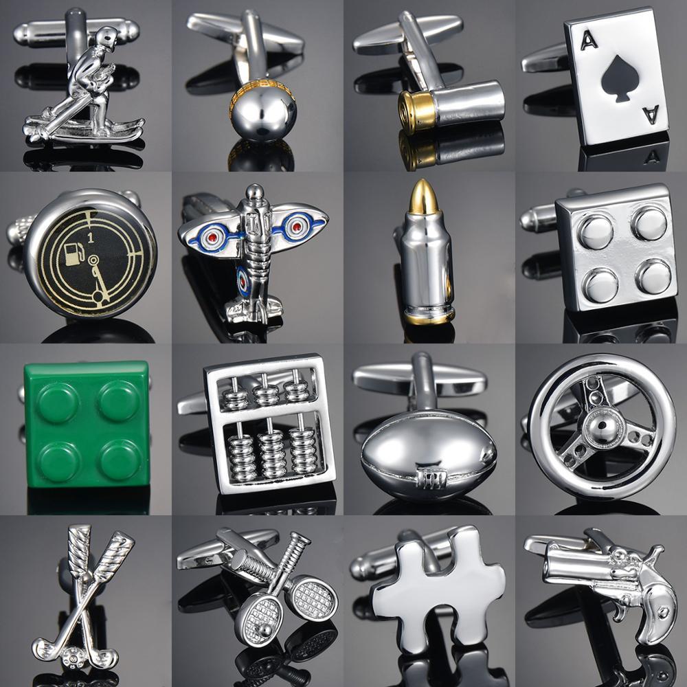 Direct Wholesale Copper Men's French Shirt Cufflinks Button Gadget/Abacus/Small Tool Hammer Knife Golf Rocket Cufflinks Gemelos