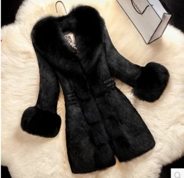 Lugentolo Fur Coat Long Autumn Winter New High-end Imitation Rabbit Hair In The Long Section 7 Color Plus Size 6XL