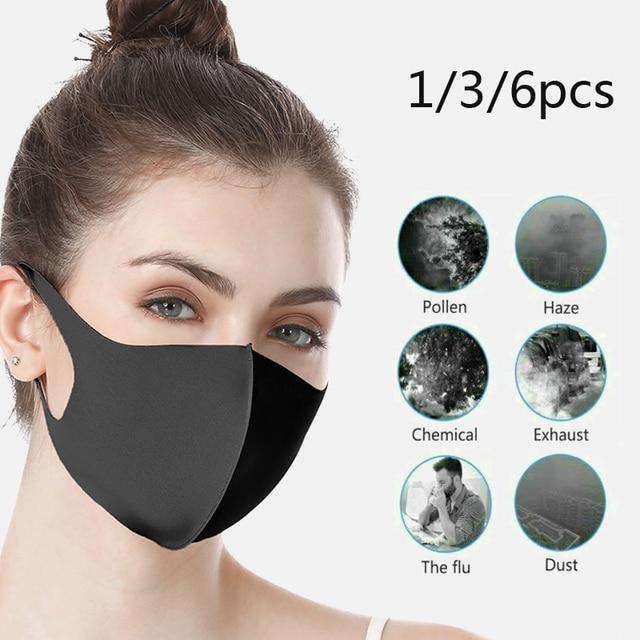 New k-pop Black Lucky Bear Women Men Sponge Face Mouth Masks Winter Mask Dustproof Mouth Face Mask Anime Cartoon Kpop 3