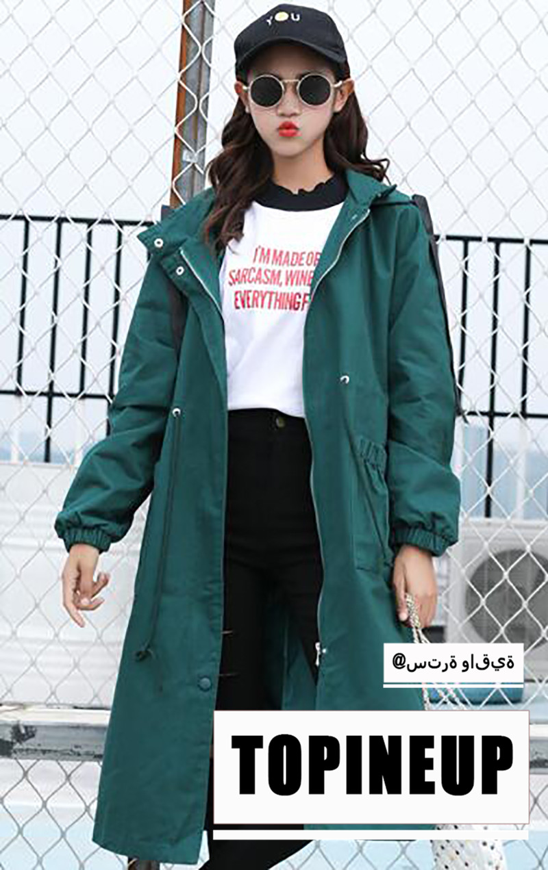 Solid Color Green Color and black color student leisure style Hooded   trench   coats outerwear zo064