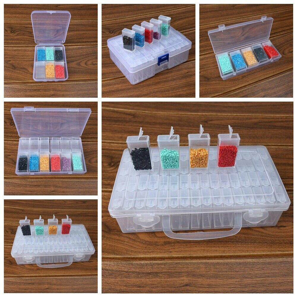 Fast Delivery 6/10/12/24/48/64 Grid Diamond Painting Jewelry Storage Box Nail Bead Transparent Organize And Save Artifacts