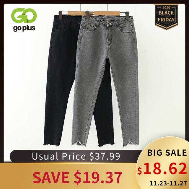 GOPLUS קוריאני סגנון נשים ג ינס גדול גודל גבוהה מותן אפור שחור ג ינס סקיני ג ינס אישה מכנסי עיפרון גרנדה Taille Femme C9561