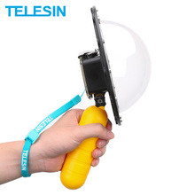 TELESIN 6 Dome Port 30M Waterproof Case Housing and Floaty Bobber Handle for Eken H9/H9R H9S Ultra HD 4K Camera Accessories