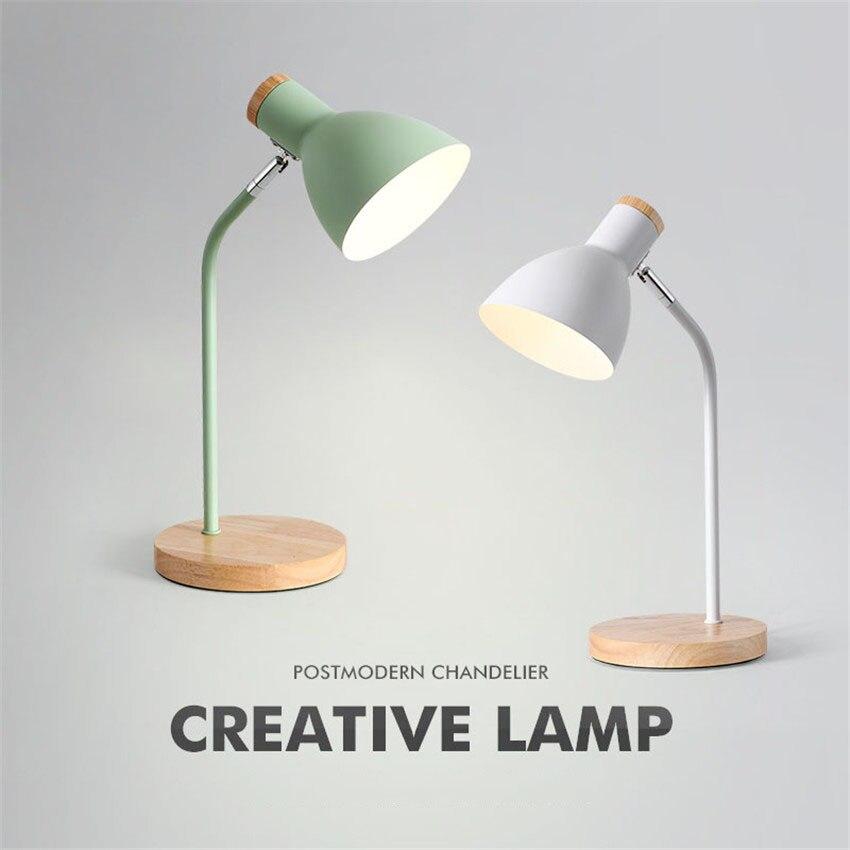 110V 220V E27 Wood Table Lamp 5 Colours Metal Shade Desk Light Bedside Bedroom Adjustable Reading Book Table Light Home Lighting