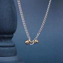 Collar de plata de ley 925 para mujer, collar de bola de equilibrio, cadena de partido