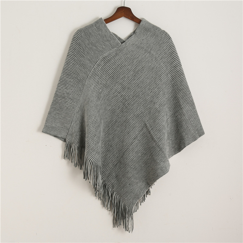 2020 Winter Knit Women Scarf Solid Cashmere Poncho Capes For Lady High Quality Tassel Wool Ponchos Pashmina Scarves