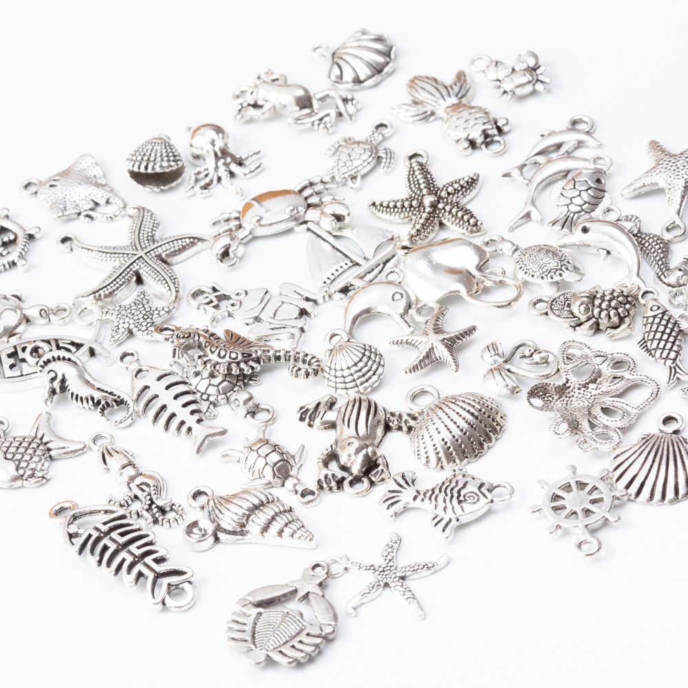 Deniz hayvan 50 adet Tibet Gümüş Karışık Stilleri Charms Kolye DIY Takı Kolye Bilezik Yapımı Aksesuarları js2231