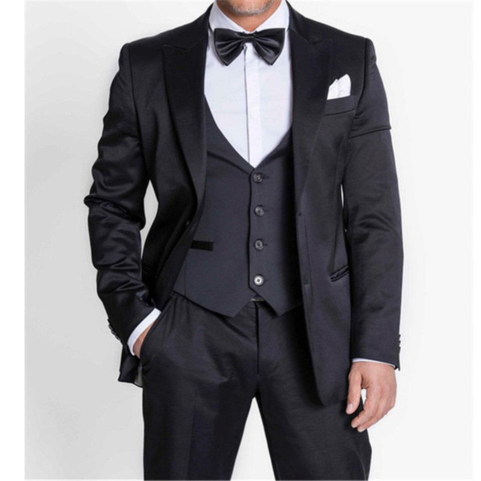 Black Formal Men Suit Slim Fit Bespoke Groom Tuxedo Blazer For Wedding Prom Tuxedo Costume Homme Men's Suits 3 Piece (Jacket+Pan