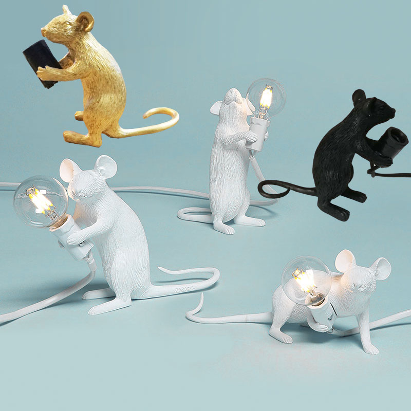 Mouse Table Lamp Resin White Nordic Creative Living Room Study Decorative Light Children's Room Bedroom Mouse Desk Lamp Indoor