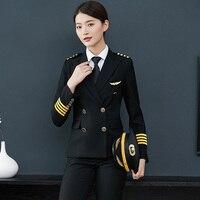 Pilot Captain Aviation Uniform Female Workwear Flight Attendant Professional Suits Jacket Pants Sales Hotel Reception Overalls