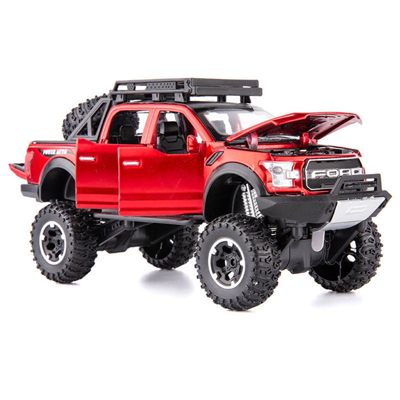1:32 Diecast Car Model Red Simulation F150 Metal Wheels Kids Toy Car Vehicle Sound And Light Pull Back Car Ornaments Boy Gift