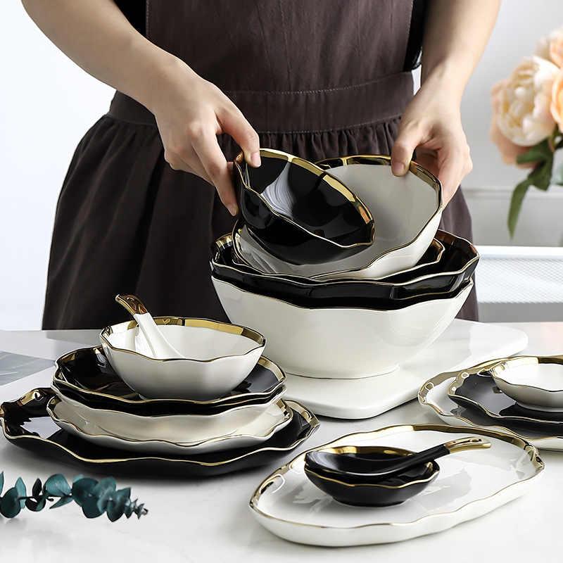 Nowoczesne Pozłacane Czarne Białe Ceramiczne Naczynia Stołowe Złota Wkładka Fala Krawędź Zastawa Stołowa Płytki Talerz Gospodarstwa Domowego Patelnia Do Steków Miska Na Zupę Dinnerware Sets Aliexpress