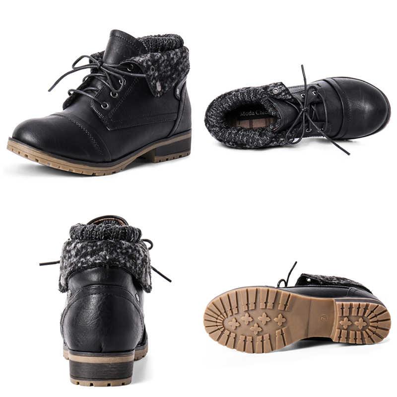 STQ 2020 yeni kış kadın yarım çizmeler ayakkabı hakiki deri Lace Up platformu çizmeler kadın sıcak peluş kar botları kadın 1802