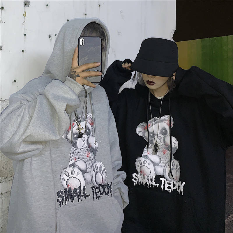 Winter Fashion Teddy Bear Print Harajuku Hoodies Women Sweatshirt Coat Loose Autumn Pullover Lady Clothes Punk Hoodie Women