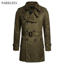 Suede Trenchcoat Men Classic British Style Mens Trench Coat Jacket Double Breasted Long Outwear Windbreaker Belt Blends Coats