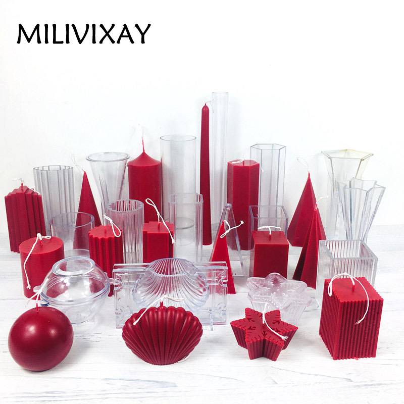 MILIVIXAY 15 Design Candle Molds For Candle Making Pillar/Square/Cylinder/Ball Plastic Candle Molds DIY Candle Bougie Crafts