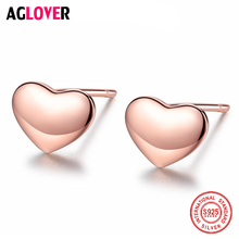 AGLOVER Hot 925 Sterling Silver Stud Earrings Simple Love Stud Earrings Women Rose Gold Wild Jewelry Girl Christmas Gifts