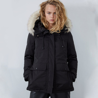 Black ZA Women's Parker Jacket Thick Warm Casual Section Stand Collar Hooded Detachable Fur Collar Stitching Cotton Clothing