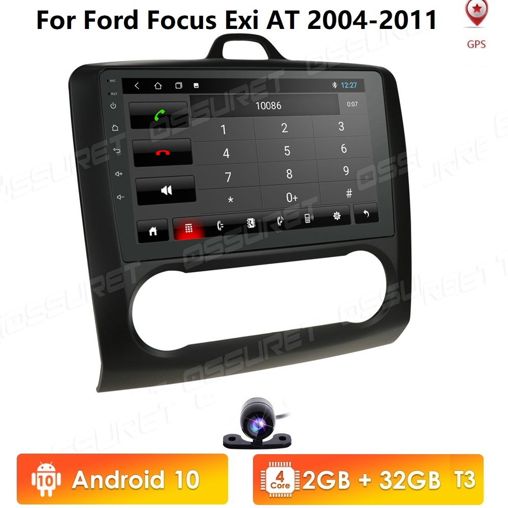 2 DIN 9 Inch Android 10 GPS Navigation Touchscreen Car Radio Multimedia Player For 2004 2005 2006-2011 Ford Focus Exi AT 4G WIFI image