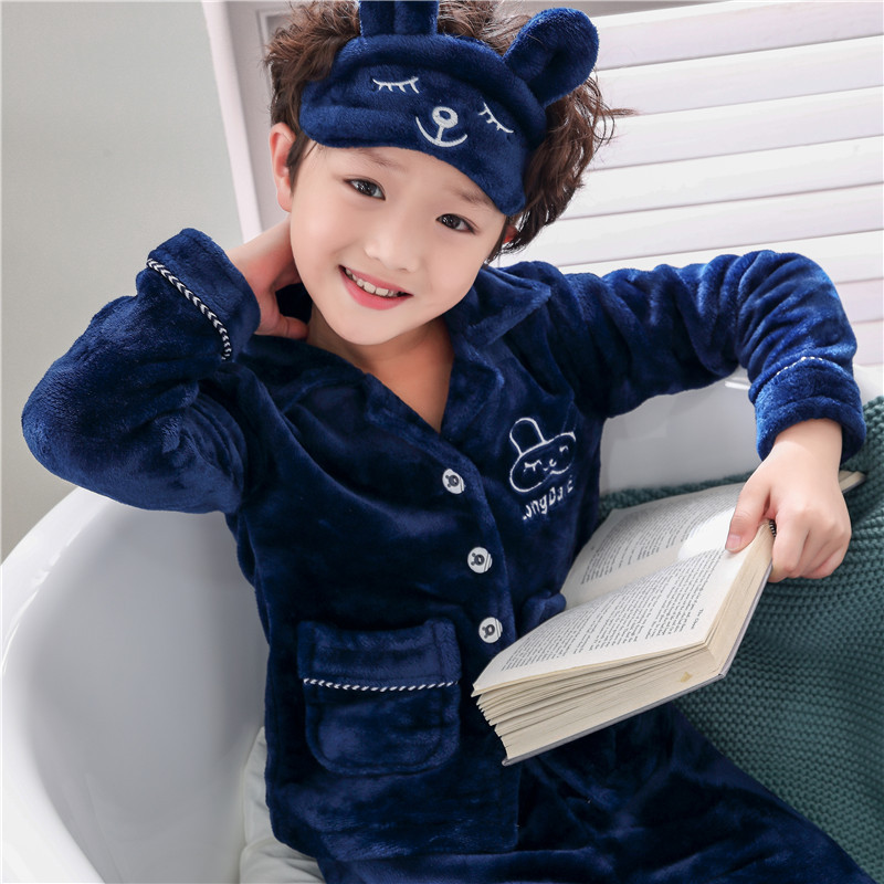 2018 Autumn And Winter Children Thick Flannel Pajamas Men And Women Children Thermal Suit Children Coral Velvet Tracksuit