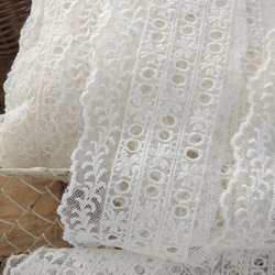 5yards/lot Off white Cotton Embroidered Small Wide 6cm Lace Trims Can Pass Ribbon Lace Material X656