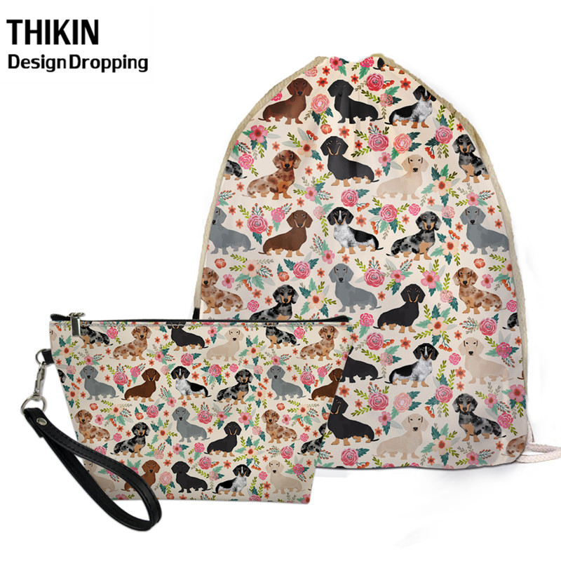 THIKIN Dachshund Dog Floral Pattern Travel Women Small Storage 2 Pcs Bag Sets Causal Female Drawstring Backpack PU Makeup Case