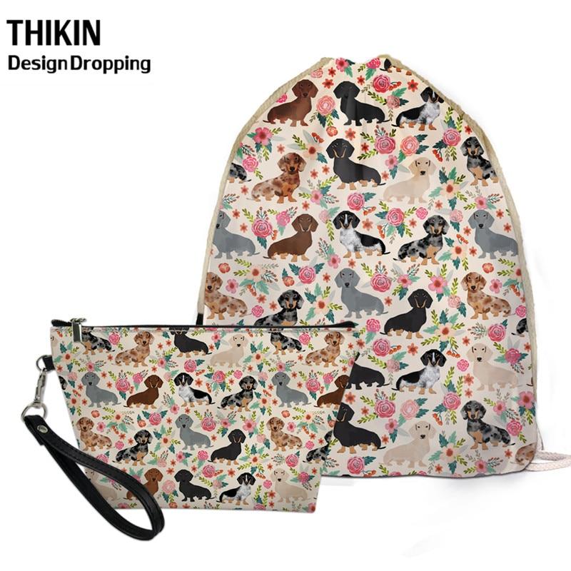 THIKIN Dachshund Dog Floral Pattern Travel Women Small Storage 2 Pcs Bag Sets Causal Female Drawstring Backpack PU Makeup Case