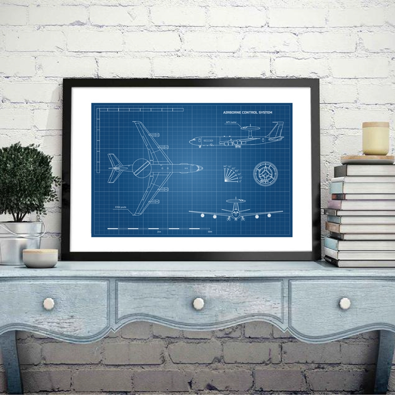 Blueprint of Aircraft Camvas Painting Home Decor